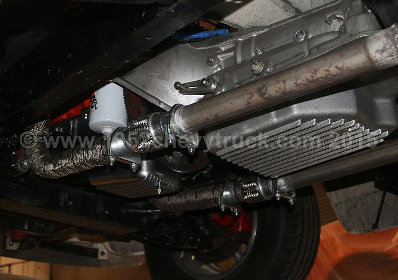Exhaust pipes with flexible links.